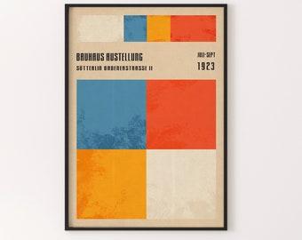 Bauhaus Exhibition Poster | Retro German Style, Bauhaus Wallart, Modern Art Print.