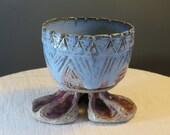 Blue Sky - Ceramic Planter with feet - One of a kind