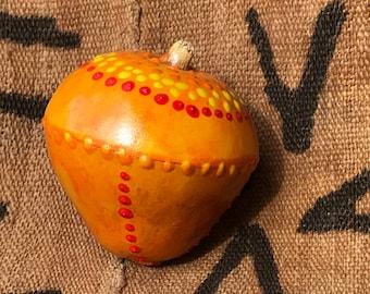 Orange Acorn gourd shaker