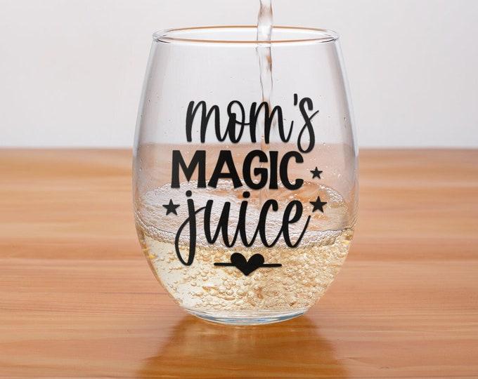 Moms Magic Juice| Christmas Wine Gift | Stemless  |  Elephant Gift | Stemless wine glass | Birthday for Mom