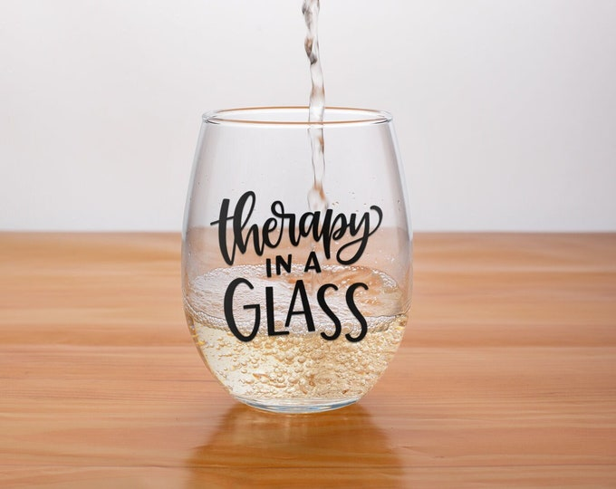 Therapy in a Glass | Christmas Wine Gift| Christmas 2021 | Seasonal Stemless  |  Elephant Gift | Stemless wine glass | Birthday for Mom