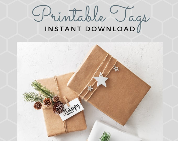 Adorable Printable Christmas Tags, digital download, keep Christmas on a budget