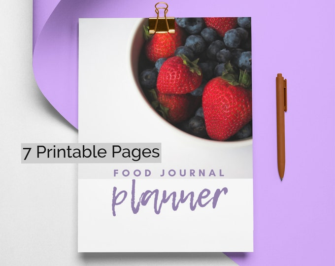 Food Diary, Daily Food Journal, 2021 goal setting, Nutrition Tracker, Food Planning