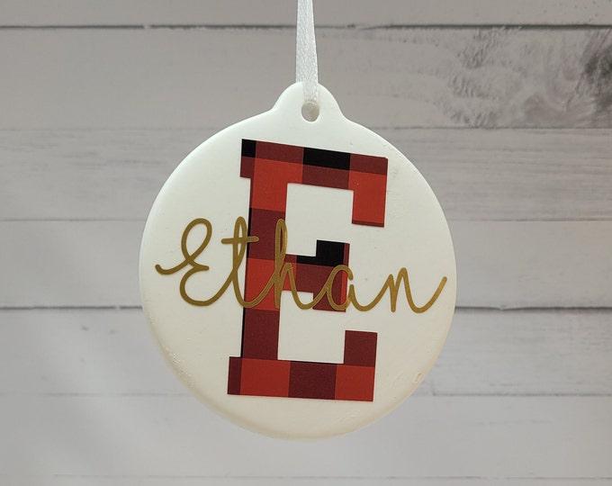 Custom Christmas Ornament |  Name & Initial Ornament | Christmas Monogram Ornament| Personalized Christmas Name Ornaments For Kids