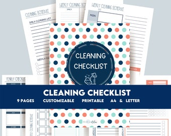 Printable Cleaning Checklist Planner,  Productivity Planner, Child Chore List, Clean Home, Daily, Weekly, Monthly & Yearly