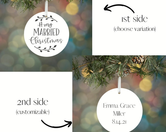 Custom Christmas Ornament |  Newly Married |Engagement Ornament | Step Dad Gift | Father in law Gift