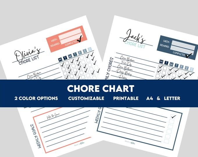 EDITABLE Child Daily Responsibility Chart | Child Chore Chart | Reward Chart | Behavior Chart | Allowance Chore Chart for Kids