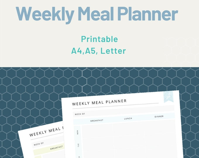Editable Weekly Meal Planner | Weekly Meal | Food Planner | Menu Planner | Meal Prep Planner | Easy Dinner A4, A5 and US Letter