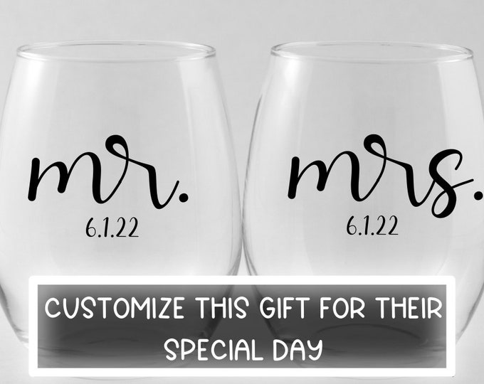 Bride and Groom Gift | Couples Wedding Gift |  Stemless Wine Glass | Gift for Couple | Anniversary Gift