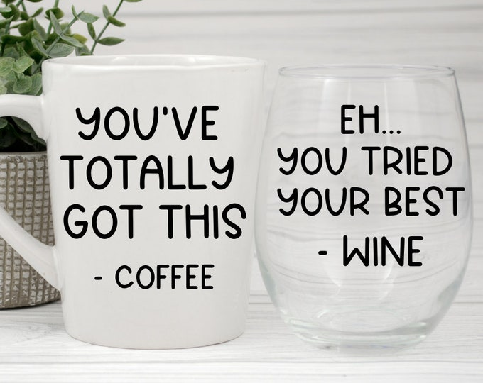 Coffee & Wine Gift Set | Mug and stemless wine glass set | Mothers Day Gifts | Funny Gifts for mom | Birthday Gift | Stemless Wine Glass