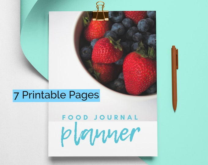 Food Diary, Daily Food Journal, Daily Food Log, New Year Resolution, Weight Loss, Weight Loss Tracker, 2021 Goal Setting, Habit Tracker