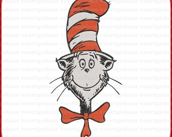 Many Formats and Sizes Filled Embroidery Design Embroidery Dr Seuss Cat Instant Download