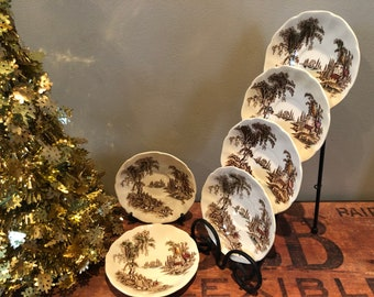 """Vintage Johnson Bros """"The OLD MILL"""" Brown Dessert Plates 5 1/5 inches - Made in England, Kitchen & Dining, Kitchenware"""