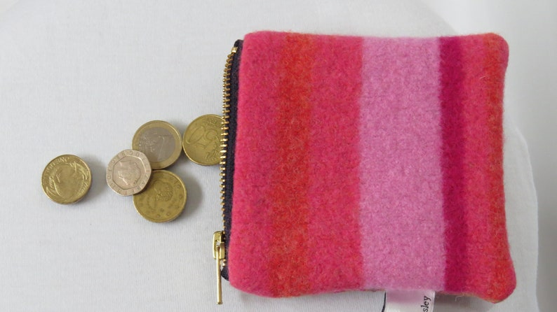 cute soft little coin purse,beautiful bright nuno felted silk and merino wool,fully lined zipped top