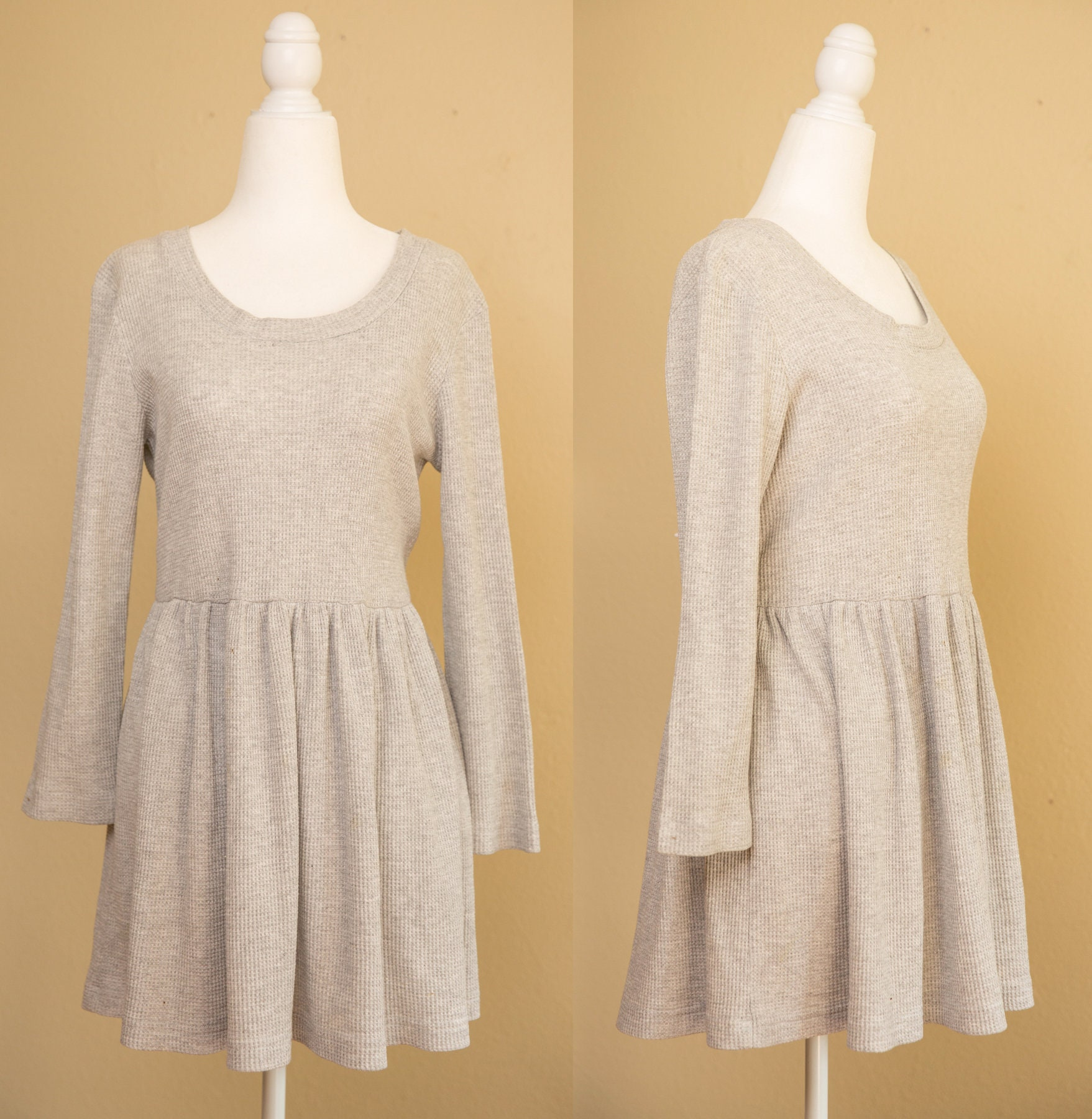 80s Dresses | Casual to Party Dresses Vintage 1980s 1990s Cw Dress Mini Gray Waffle Knit Long Sleeve Casual Medium $34.00 AT vintagedancer.com