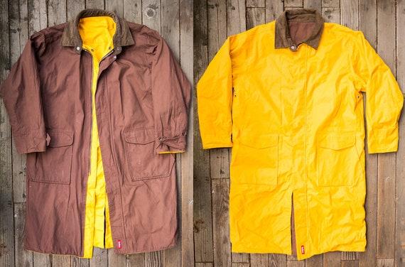 Vintage 1990's Marlboro Rain Coat Yellow & Brown R