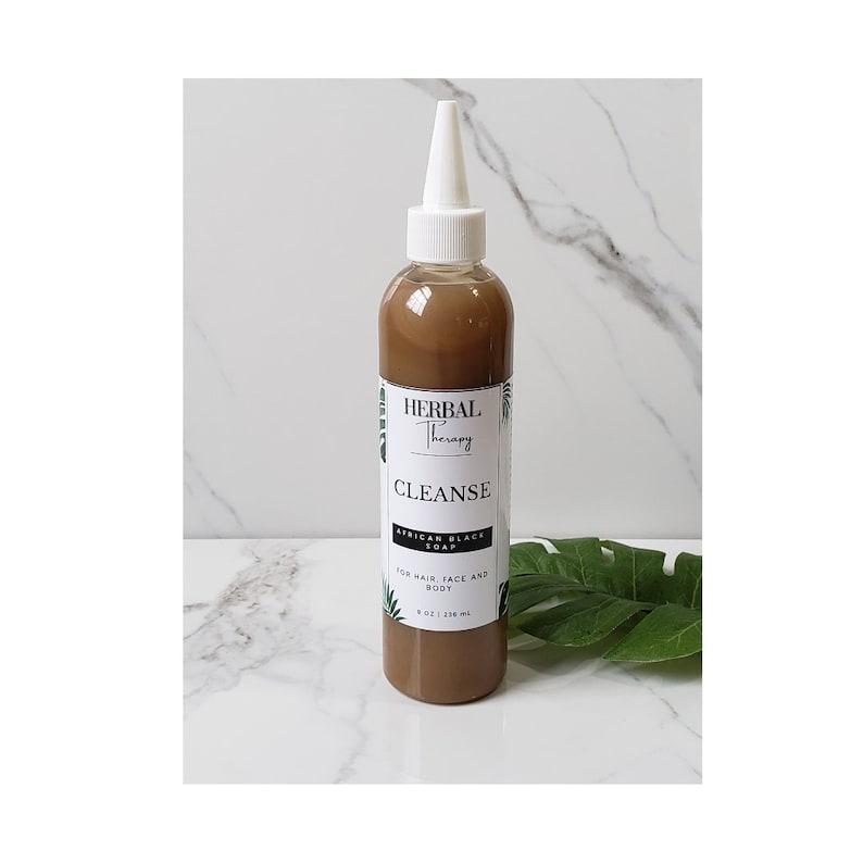 Liquid African Black Soap 100% Pure  Cleansing Hair Shampoo  image 0
