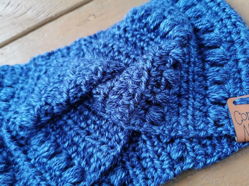Adult ML Headband Blueberry Twist Knot Crochet Wide Width Ear Warmer
