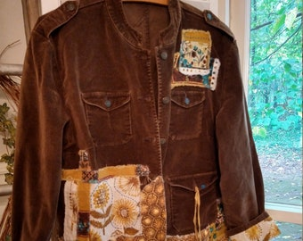 Boho, brown and beautiful tunic jacket, Women's size M-L up-cycled soft corduroy military-style jacket, Linen patchwork wearable art jacket