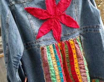 Up-cycled denim and kantha quilt jacket, Boho patchwork XL women's jeans jacket, Bohemian style up-cycled tunic jacket