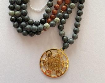 Merkaba star trinketstash Jar with goldstone