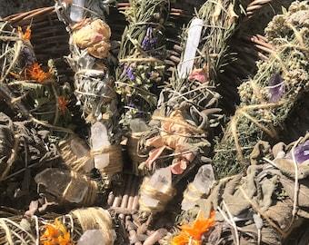 Botanical Crystal Cleansing Wand - Sage Rosemary & Gypsophila