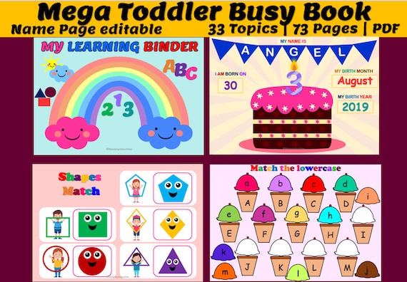 Toddler Busy Book Mega Bundle includes 33 activities