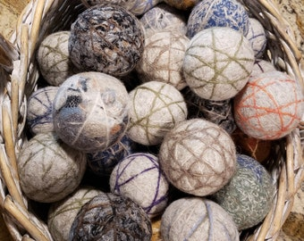 Handmade Wool Dryer Balls (Recycled Wool) Assorted Pack of 3 - Unscented(Laundry, Reusable, Chemical Free, Sustainable, Made in Oregon, USA)