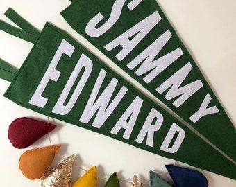 LARGE CUSTOM Pennant Flag Banner | nursery, childrens decor, anniversary, wedding, established, house warming