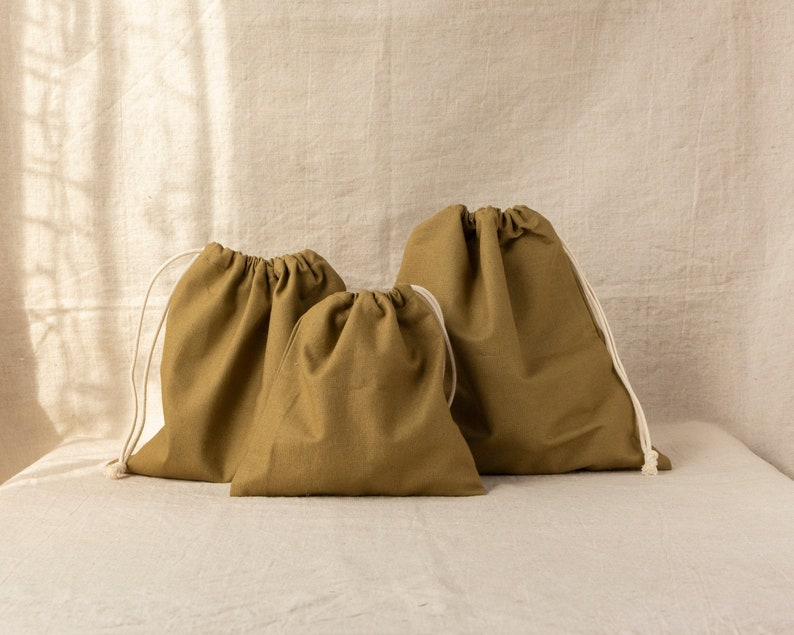 Khaki cotton bags for vegetables and fruits  SET of  369 pieces