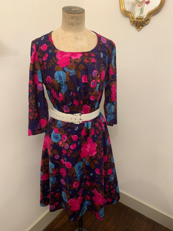Handmade vintage couture floral 50s style dress