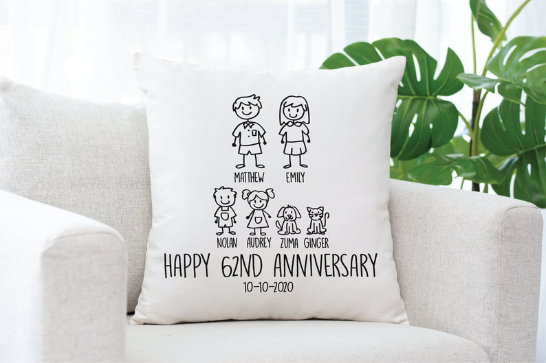 62 Year Wedding Anniversary Gift for Wife 62 Year Custom Anniversary Pillow Personalized Anniversary Gift Anniversary Pillow