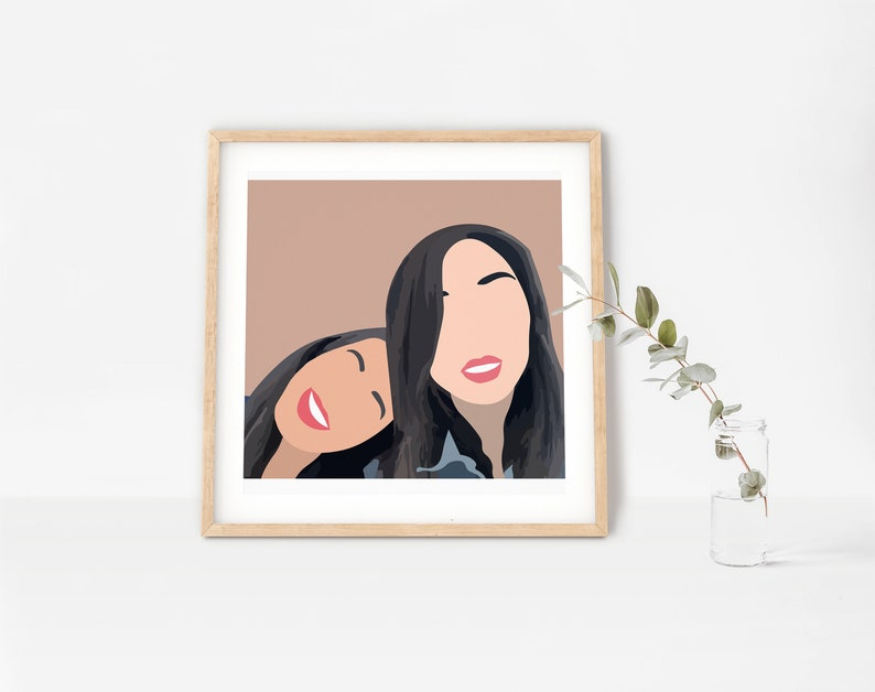 Custom Minimalist Portrait Faceless Portrait  Mother Daughter Portrait Family Illustration from Photo Mothers Day Gift Ideas