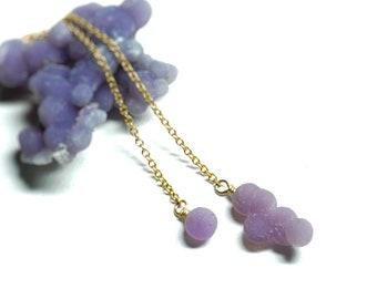handmade Grape Agate necklace Wirewrap trendy jewelry Purple gemstone Boho rave silver necklace,basshead crystal gem jewelry