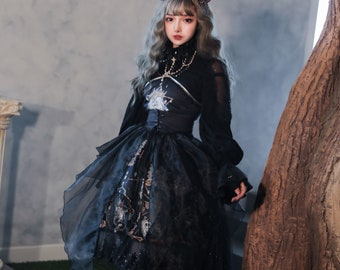 Custom Lolita Dress,Plus SizeFriendly,Black Kawaii Dress For Women,Magic Tea Party,Victorian Summer Clothing