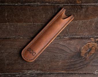 Handmade leather pen sleeve/case/slip Free Personalised Engraving