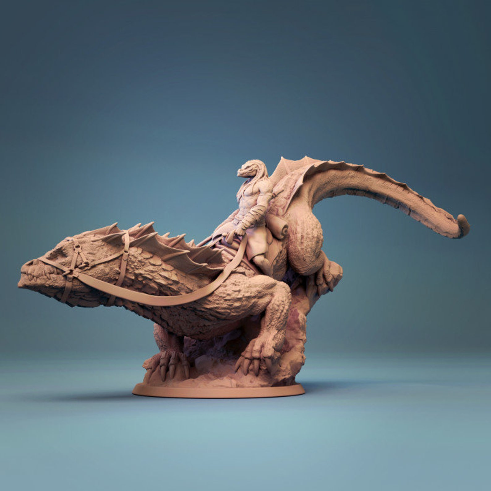 Giant Lizard Mounted 3D Printed Preprimed Miniature Model