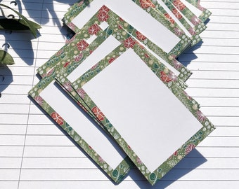 Flash cards - stationary - green/blue flower pattern - 50, 100 or 200 pieces