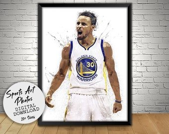 Stephen Curry Poster, Golden State Warriors, Wall Art Printable, Digital Download, Man Cave Gift, Sports Art