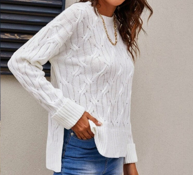 Spring Hand Knitted Cable Knit Pullover Jumper Viscose Blend In White for Women READY TO SHIP