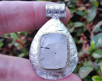 """Energy Clearing Amplification Cleansing ~ Authentic Natural Black Tourmalinated Quartz Hammered Design Gemstone 1 1/2"""" Pendant"""
