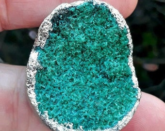 """Luck & Emotional Strength ~ Authentic Green Druzy Agate Gemstone 2 1/8"""" Pendant 18K White Gold Plated"""