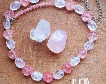 """Self Love & Confidence (perfect for Teen) ~ Authentic Rose Quartz and Faceted Cherry Quartz Flower Gemstone Necklace 18-21"""" 18kt White Gold"""