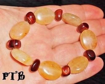 "Motivation Energy Confidence ~ Authentic Red Tiger Eye & Yellow Jade Gemstone Bracelet 7 1/2"""