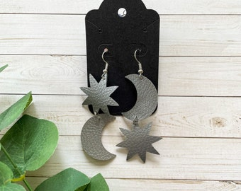 Moon & Star Earrings • Celestial Earrings • Pinched Earrings • Hypoallergenic Earrings • Vegan Earrings
