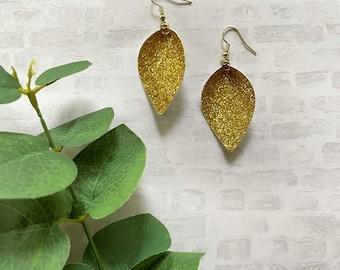 Pinched Earrings • Gold Glitter Pinched Earrings • Hypoallergenic Earrings • Vegan EarringsEarrings