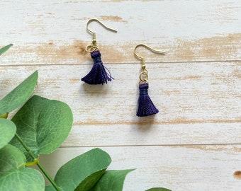 Tassel Earrings • Blue Tassel Earrings • Pinched Earrings • Hypoallergenic Earrings • Vegan Earrings
