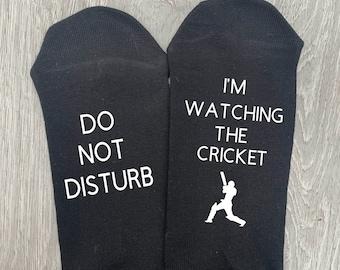 Do Not Disturb, I'm watching the cricket. Novelty Socks, Birthday gift, Present.