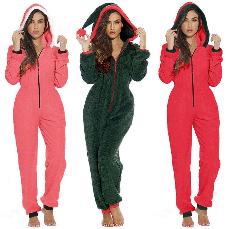 Women Winter Faux Fur Pajamas Red Green Color One Piece Club Outfit Christmas Santa Claus Hooded Onesies V Neck Zipper Jumpsuit