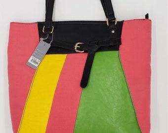 Shopping Bag Unique Green Spring Purse Minimalist Lime Green Modern Purse Feminine Bag Tote with Pockets Lime Vegan Vinyl Tote